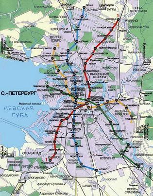 Карта метро Санкт-Петербурга.
